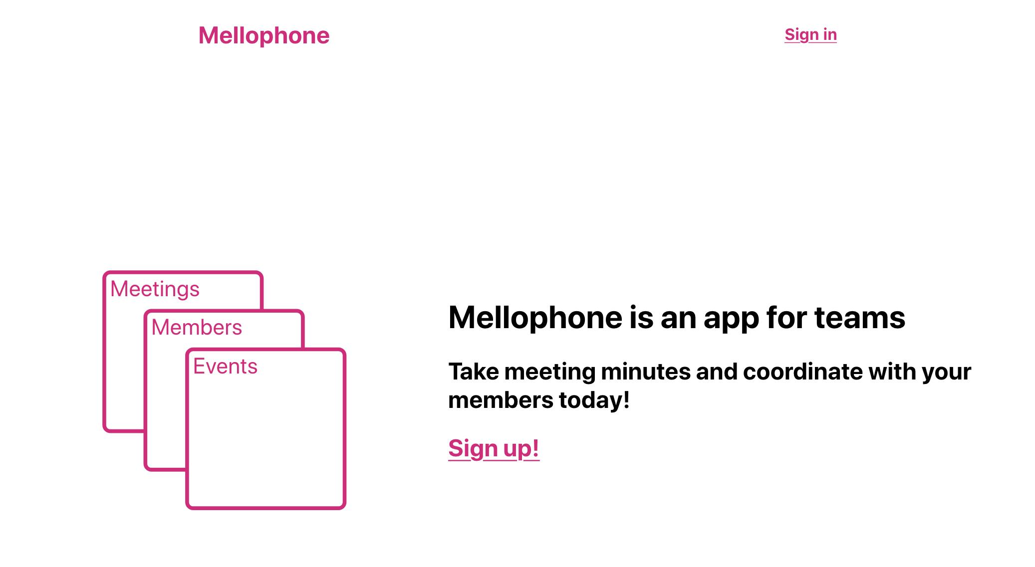 A screenshot of Mellophone's landing page