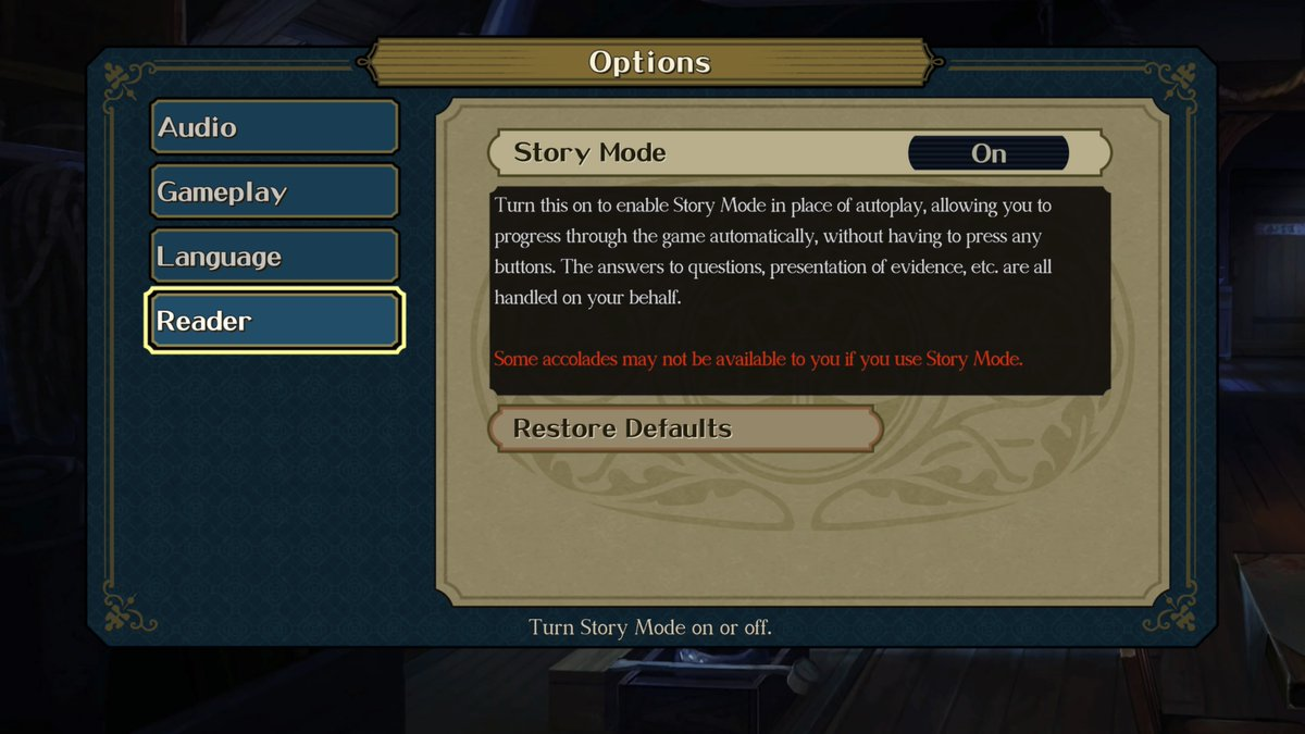 Picture of the Story Mode setting, showing how you can turn the mode on and off whenever you want.